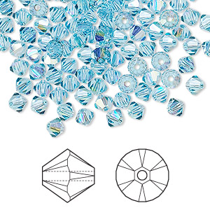 bead, swarovski crystals, crystal passions, aquamarine ab, 4mm xilion bicone (5328). sold per pkg of 144 (1 gross).