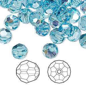 bead, swarovski crystals, crystal passions, aquamarine ab, 8mm faceted round (5000). sold per pkg of 144 (1 gross).