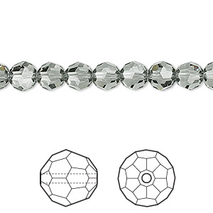 bead, swarovski crystals, crystal passions, black diamond, 6mm faceted round (5000). sold per pkg of 12.