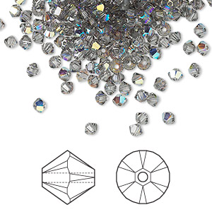 bead, swarovski crystals, crystal passions, black diamond ab, 3mm xilion bicone (5328). sold per pkg of 48.