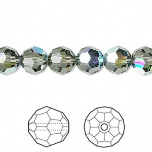 bead, swarovski crystals, crystal passions, black diamond ab, 8mm faceted round (5000). sold per pkg of 12.
