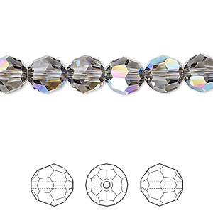 bead, swarovski crystals, crystal passions, black diamond shimmer, 8mm faceted round (5000). sold per pkg of 12.