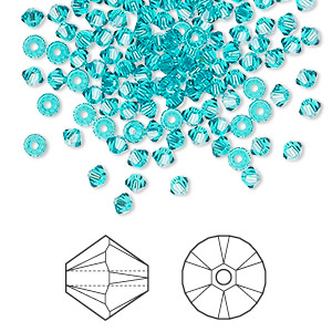 bead, swarovski crystals, crystal passions, blue zircon, 3mm xilion bicone (5328). sold per pkg of 144 (1 gross).