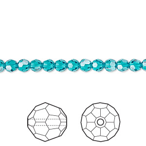 bead, swarovski crystals, crystal passions, blue zircon, 4mm faceted round (5000). sold per pkg of 12.