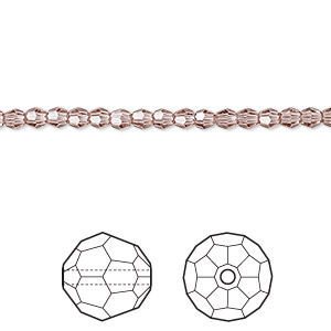 bead, swarovski crystals, crystal passions, blush rose, 3mm faceted round (5000). sold per pkg of 12.