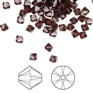bead, swarovski crystals, crystal passions, burgundy, 4mm xilion bicone (5328). sold per pkg of 144 (1 gross).