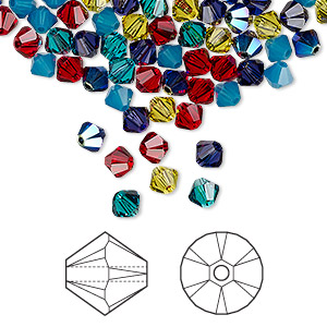 bead, swarovski crystals, crystal passions, candy, 4mm xilion bicone (5328). sold per pkg of 144 (1 gross).