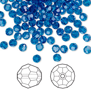 bead, swarovski crystals, crystal passions, capri blue, 4mm faceted round (5000). sold per pkg of 144 (1 gross).