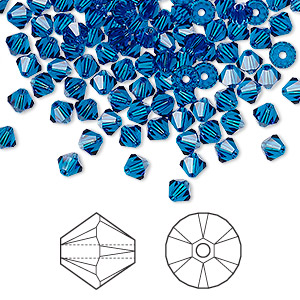 bead, swarovski crystals, crystal passions, capri blue, 4mm xilion bicone (5328). sold per pkg of 48.