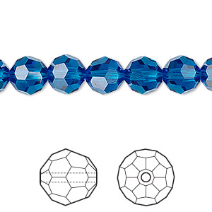 bead, swarovski crystals, crystal passions, capri blue, 8mm faceted round (5000). sold per pkg of 12.