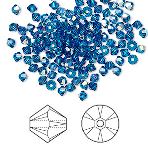 bead, swarovski crystals, crystal passions, capri blue ab, 3mm xilion bicone (5328). sold per pkg of 144 (1 gross).