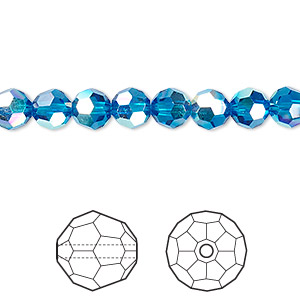 bead, swarovski crystals, crystal passions, capri blue ab, 6mm faceted round (5000). sold per pkg of 12.