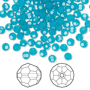 bead, swarovski crystals, crystal passions, caribbean blue opal, 4mm faceted round (5000). sold per pkg of 144 (1 gross).