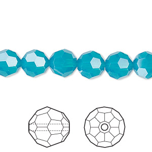 bead, swarovski crystals, crystal passions, caribbean blue opal, 8mm faceted round (5000). sold per pkg of 12.