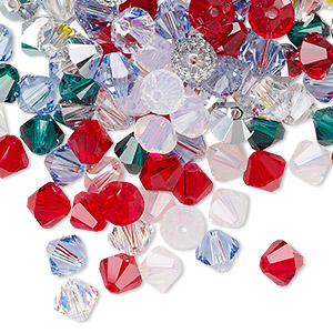 bead, swarovski crystals, crystal passions, christmas, 6mm xilion bicone (5328). sold per pkg of 144 (1 gross).