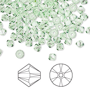 bead, swarovski crystals, crystal passions, chrysolite, 4mm xilion bicone (5328). sold per pkg of 144 (1 gross).