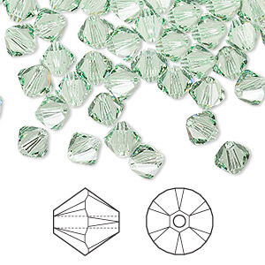 bead, swarovski crystals, crystal passions, chrysolite, 6mm xilion bicone (5328). sold per pkg of 144 (1 gross).