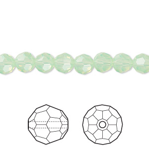 bead, swarovski crystals, crystal passions, chrysolite opal, 6mm faceted round (5000). sold per pkg of 360.