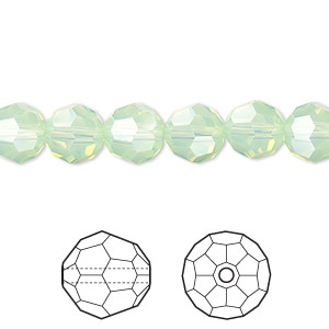 bead, swarovski crystals, crystal passions, chrysolite opal, 8mm faceted round (5000). sold per pkg of 144 (1 gross).