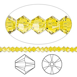 bead, swarovski crystals, crystal passions, citrine, 3mm xilion bicone (5328). sold per pkg of 144 (1 gross).
