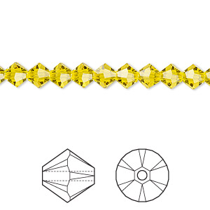bead, swarovski crystals, crystal passions, citrine, 5mm faceted bicone (5301). sold per pkg of 24.