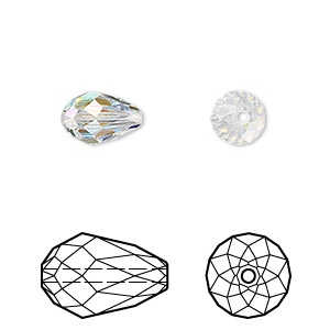 bead, swarovski crystals, crystal passions, crystal ab, 10.5x7mm faceted teardrop (5500). sold per pkg of 24.