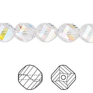 bead, swarovski crystals, crystal passions, crystal ab, 10mm faceted helix (5020). sold per pkg of 12.