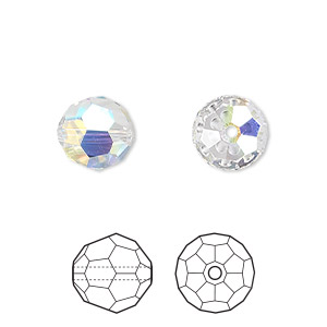 bead, swarovski crystals, crystal passions, crystal ab, 10mm faceted round (5000). sold per pkg of 2.