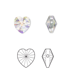 bead, swarovski crystals, crystal passions, crystal ab, 10x10mm faceted heart (5742). sold per pkg of 2.