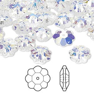 bead, swarovski crystals, crystal passions, crystal ab, 10x3.5mm faceted marguerite lochrose flower (3700). sold per pkg of 144 (1 gross).