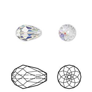 bead, swarovski crystals, crystal passions, crystal ab, 12x8mm faceted teardrop (5500). sold per pkg of 24.