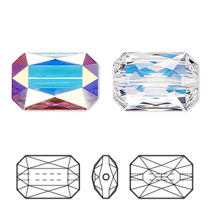 bead, swarovski crystals, crystal passions, crystal ab, 18x12.5mm faceted emerald cut (5515). sold per pkg of 4.