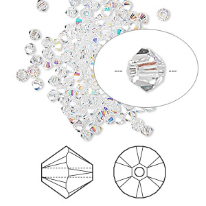 bead, swarovski crystals, crystal passions, crystal ab, 2.5mm xilion bicone (5328). sold per pkg of 48.