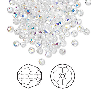 bead, swarovski crystals, crystal passions, crystal ab, 3mm faceted round (5000). sold per pkg of 144 (1 gross).