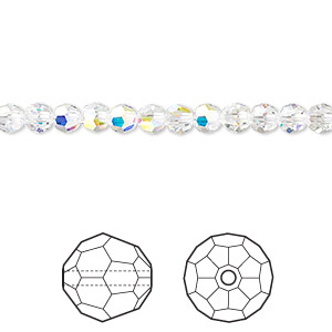 bead, swarovski crystals, crystal passions, crystal ab, 4mm faceted round (5000). sold per pkg of 12.