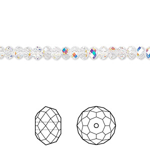 bead, swarovski crystals, crystal passions, crystal ab, 4x3mm faceted rondelle (5040). sold per pkg of 12.