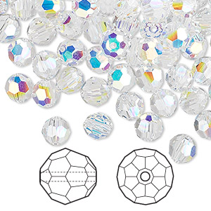 bead, swarovski crystals, crystal passions, crystal ab, 6mm faceted round (5000). sold per pkg of 144 (1 gross).