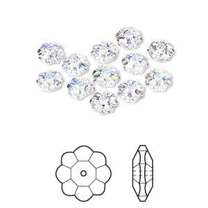 bead, swarovski crystals, crystal passions, crystal ab, 6x2mm faceted marguerite lochrose flower (3700). sold per pkg of 12.