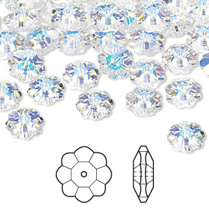 bead, swarovski crystals, crystal passions, crystal ab, 8x3mm faceted marguerite lochrose flower (3700). sold per pkg of 12.