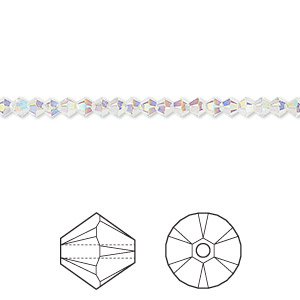bead, swarovski crystals, crystal passions, crystal ab2x, 3mm xilion bicone (5328). sold per pkg of 48.