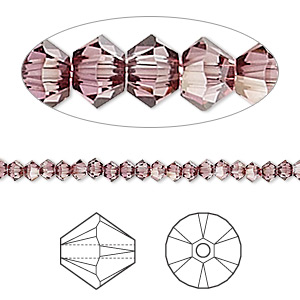 bead, swarovski crystals, crystal passions, crystal antique pink, 3mm xilion bicone (5328). sold per pkg of 144 (1 gross).