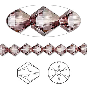 bead, swarovski crystals, crystal passions, crystal antique pink, 6mm xilion bicone (5328). sold per pkg of 24.