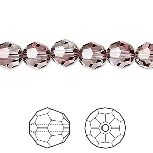 bead, swarovski crystals, crystal passions, crystal antique pink, 8mm faceted round (5000). sold per pkg of 144 (1 gross).