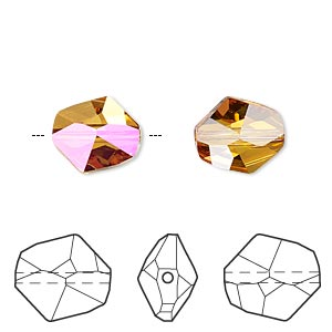 bead, swarovski crystals, crystal passions, crystal astral pink, 12x11mm faceted cosmic (5523). sold per pkg of 48.