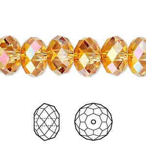 bead, swarovski crystals, crystal passions, crystal astral pink, 12x8mm faceted rondelle (5040). sold per pkg of 12.