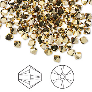 bead, swarovski crystals, crystal passions, crystal aurum 2x, 4mm xilion bicone (5328). sold per pkg of 144 (1 gross).