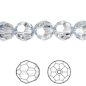 bead, swarovski crystals, crystal passions, crystal blue shade, 10mm faceted round (5000). sold per pkg of 24.