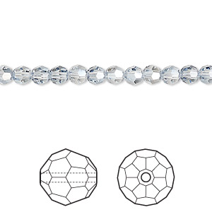 bead, swarovski crystals, crystal passions, crystal blue shade, 4mm faceted round (5000). sold per pkg of 144 (1 gross).