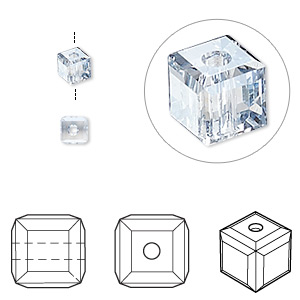 bead, swarovski crystals, crystal passions, crystal blue shade, 4x4mm faceted cube (5601). sold per pkg of 12.