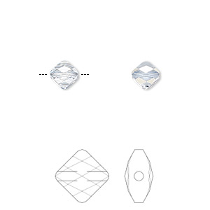 bead, swarovski crystals, crystal passions, crystal blue shade, 6x6mm faceted mini rhombus (5054). sold per pkg of 2.